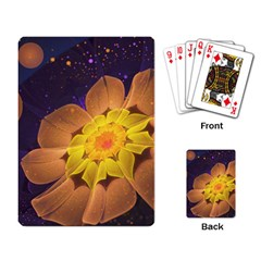 Beautiful Violet & Peach Primrose Fractal Flowers Playing Card
