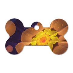 Beautiful Violet & Peach Primrose Fractal Flowers Dog Tag Bone (two Sides)