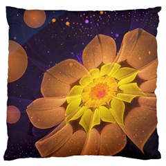 Beautiful Violet & Peach Primrose Fractal Flowers Large Cushion Case (two Sides) by jayaprime