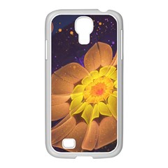 Beautiful Violet & Peach Primrose Fractal Flowers Samsung Galaxy S4 I9500/ I9505 Case (white) by jayaprime