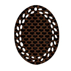Scales3 Black Marble & Brown Wood Ornament (oval Filigree)