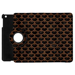 Scales3 Black Marble & Brown Wood Apple Ipad Mini Flip 360 Case by trendistuff