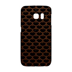 Scales3 Black Marble & Brown Wood Samsung Galaxy S6 Edge Hardshell Case by trendistuff