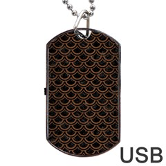 Scales2 Black Marble & Brown Wood Dog Tag Usb Flash (two Sides) by trendistuff