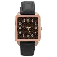 Scales2 Black Marble & Brown Wood Rose Gold Leather Watch  by trendistuff