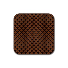 Scales1 Black Marble & Brown Wood (r) Rubber Square Coaster (4 Pack) by trendistuff