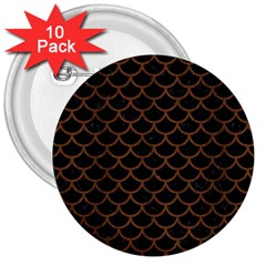 Scales1 Black Marble & Brown Wood 3  Button (10 Pack) by trendistuff