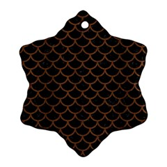 Scales1 Black Marble & Brown Wood Snowflake Ornament (two Sides) by trendistuff