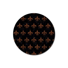 Royal1 Black Marble & Brown Wood (r) Rubber Coaster (round) by trendistuff