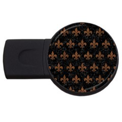 Royal1 Black Marble & Brown Wood (r) Usb Flash Drive Round (2 Gb) by trendistuff