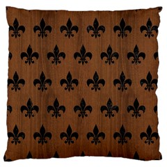 Royal1 Black Marble & Brown Wood Large Flano Cushion Case (two Sides) by trendistuff