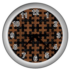 Puzzle1 Black Marble & Brown Wood Wall Clock (silver) by trendistuff