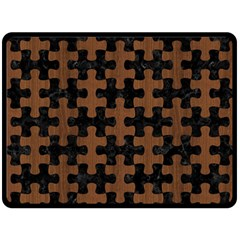 Puzzle1 Black Marble & Brown Wood Double Sided Fleece Blanket (large) by trendistuff