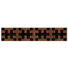Puzzle1 Black Marble & Brown Wood Flano Scarf (small) by trendistuff
