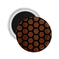 Hexagon2 Black Marble & Brown Wood (r) 2 25  Magnet by trendistuff