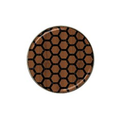 Hexagon2 Black Marble & Brown Wood (r) Hat Clip Ball Marker (4 Pack) by trendistuff