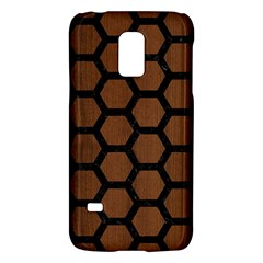 Hexagon2 Black Marble & Brown Wood (r) Samsung Galaxy S5 Mini Hardshell Case  by trendistuff