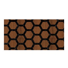 Hexagon2 Black Marble & Brown Wood (r) Satin Wrap by trendistuff