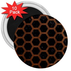 Hexagon2 Black Marble & Brown Wood 3  Magnet (10 Pack) by trendistuff