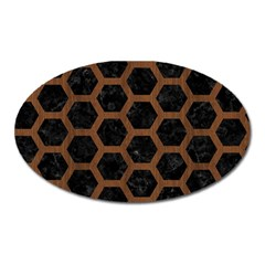 Hexagon2 Black Marble & Brown Wood Magnet (oval) by trendistuff