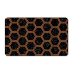 Hexagon2 Black Marble & Brown Wood Magnet (rectangular) by trendistuff