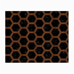 Hexagon2 Black Marble & Brown Wood Small Glasses Cloth by trendistuff