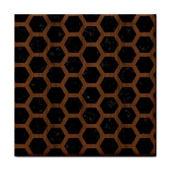 Hexagon2 Black Marble & Brown Wood Face Towel by trendistuff