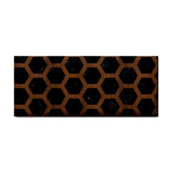 Hexagon2 Black Marble & Brown Wood Hand Towel by trendistuff