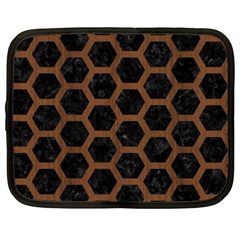 Hexagon2 Black Marble & Brown Wood Netbook Case (xxl) by trendistuff