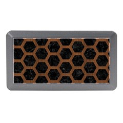 Hexagon2 Black Marble & Brown Wood Memory Card Reader (mini) by trendistuff
