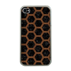 Hexagon2 Black Marble & Brown Wood Apple Iphone 4 Case (clear) by trendistuff