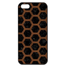 Hexagon2 Black Marble & Brown Wood Apple Iphone 5 Seamless Case (black) by trendistuff