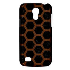 Hexagon2 Black Marble & Brown Wood Samsung Galaxy S4 Mini (gt I9190) Hardshell Case  by trendistuff