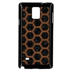 Hexagon2 Black Marble & Brown Wood Samsung Galaxy Note 4 Case (black) by trendistuff