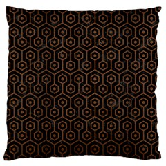 Hexagon1 Black Marble & Brown Wood Large Cushion Case (two Sides) by trendistuff