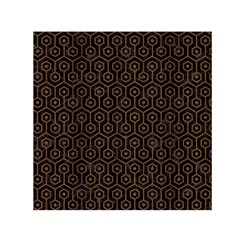 Hexagon1 Black Marble & Brown Wood Small Satin Scarf (square) by trendistuff