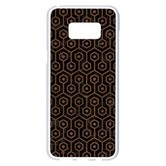 Hexagon1 Black Marble & Brown Wood Samsung Galaxy S8 Plus White Seamless Case