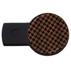 Houndstooth2 Black Marble & Brown Wood Usb Flash Drive Round (2 Gb) by trendistuff