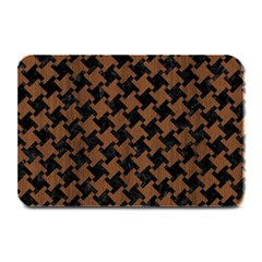 Houndstooth2 Black Marble & Brown Wood Plate Mat by trendistuff