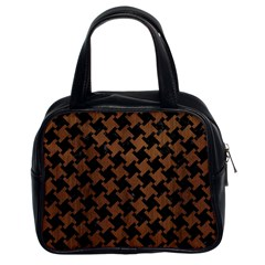 Houndstooth2 Black Marble & Brown Wood Classic Handbag (two Sides) by trendistuff