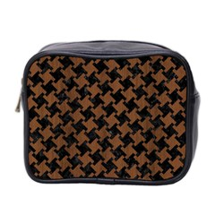 Houndstooth2 Black Marble & Brown Wood Mini Toiletries Bag (two Sides) by trendistuff