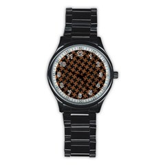 Houndstooth2 Black Marble & Brown Wood Stainless Steel Round Watch by trendistuff