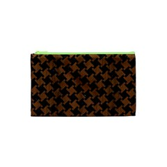 Houndstooth2 Black Marble & Brown Wood Cosmetic Bag (xs) by trendistuff