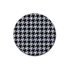 Houndstooth1 Black Marble & Brown Wood Rubber Round Coaster (4 Pack) by trendistuff