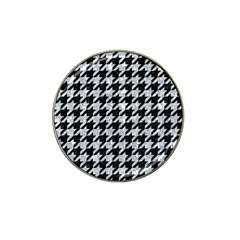 Houndstooth1 Black Marble & Brown Wood Hat Clip Ball Marker by trendistuff