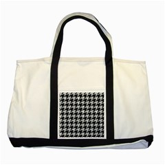Houndstooth1 Black Marble & Brown Wood Two Tone Tote Bag by trendistuff