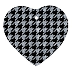 Houndstooth1 Black Marble & Brown Wood Heart Ornament (two Sides) by trendistuff