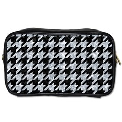 Houndstooth1 Black Marble & Brown Wood Toiletries Bag (two Sides) by trendistuff