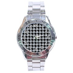 Houndstooth1 Black Marble & Brown Wood Stainless Steel Analogue Watch by trendistuff
