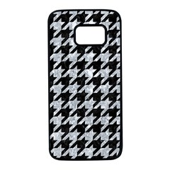 Houndstooth1 Black Marble & Brown Wood Samsung Galaxy S7 Black Seamless Case
